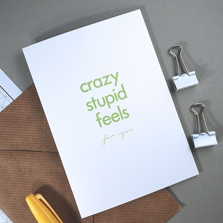 Valentines Day Card - *PRE-ORDER* - Crazy Stupid Feels - A6 card with ribbed kraft envelope by RichLittleThings on Etsy