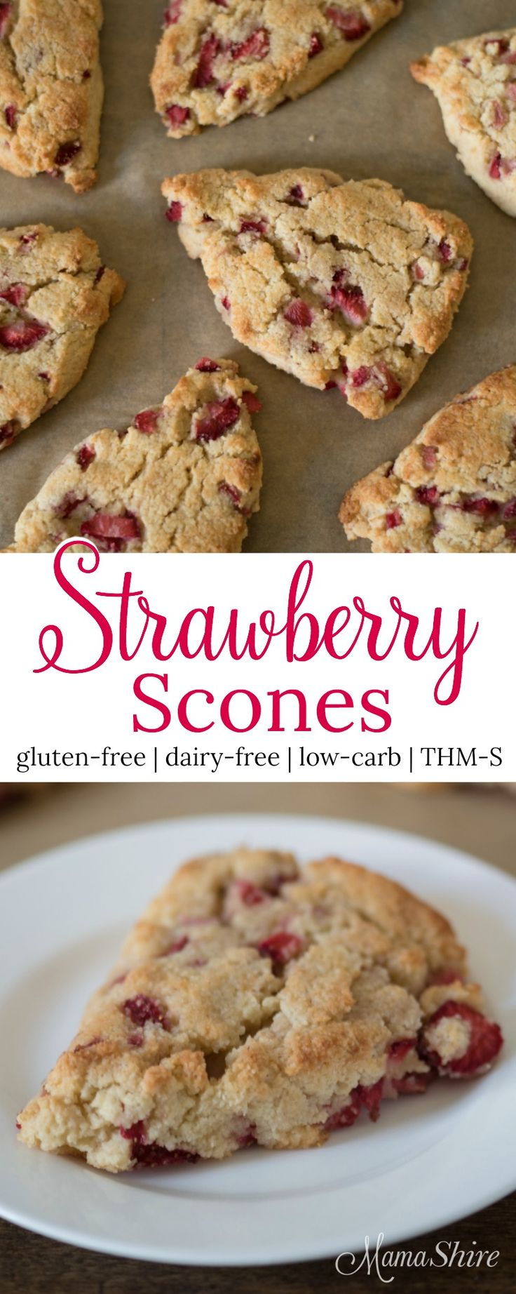 Deliciously moist gluten-free strawberry scones. Perfect for breakfast, brunch, or with tea. Dairy-free, Sugar-free, and Low-carb. Trim Healthy Mama S.