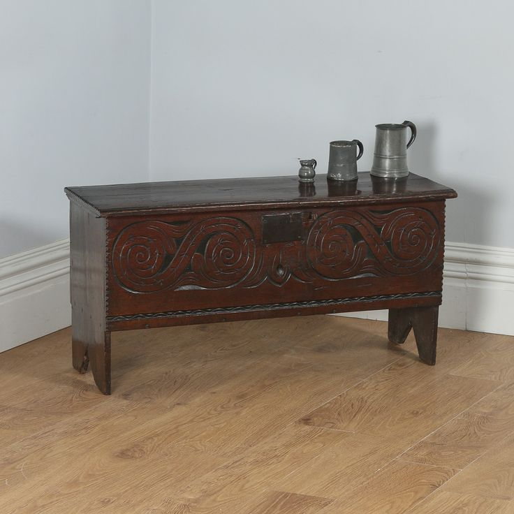 Antique Charles II English West Country Oak Six Plank Boarded Coffer (Circa 1660)