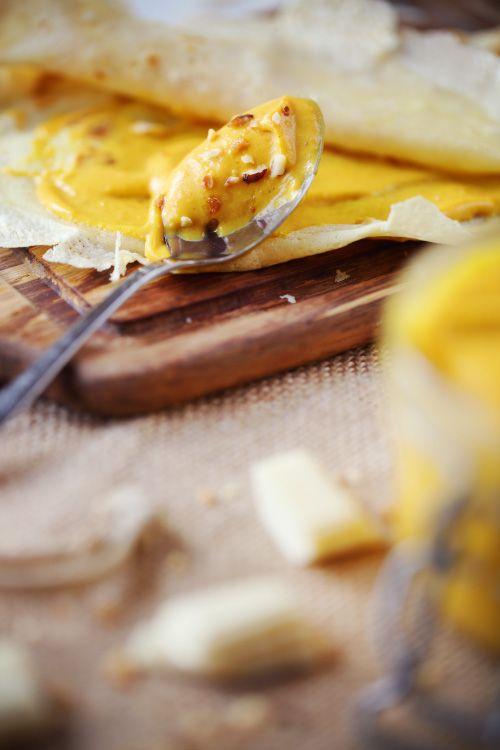 Crème de potiron au chocolat blanc et pralin
