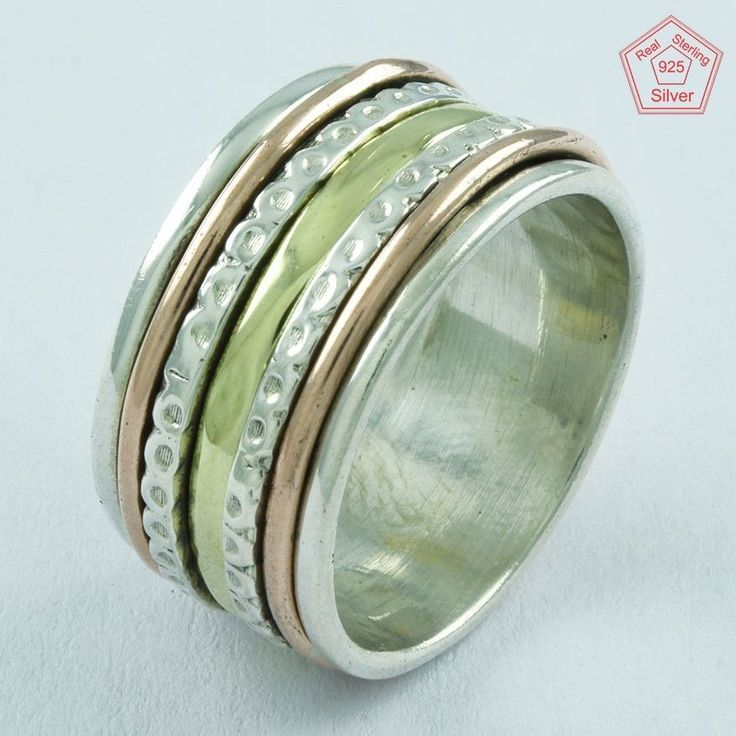 DOTTED DESIGN PATRICK GIFT 925 STERLING SILVER SPINNER RING,R5006 #SilvexImagesIndiaPvtLtd #Spinner #AllOccasions