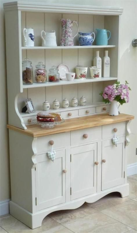 Beautiful Shabby Chic Welsh Dresser painted in Farrow & Ball Off White #shabbychicdresserswhite