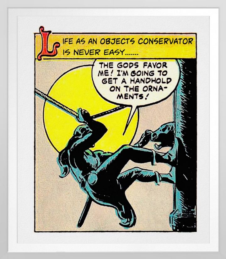 'Life As An Objects Conservator' Poster. Classic Museum humour. One for the office or lab wall. Based on a 1950's vintage comic illustration. reproduced on Archival Heavyweight Paper https://www.zazzle.com/life_as_an_objects_conservator_poster-228017127839603455 #museum #poster #conservation #conservator #humor #humour