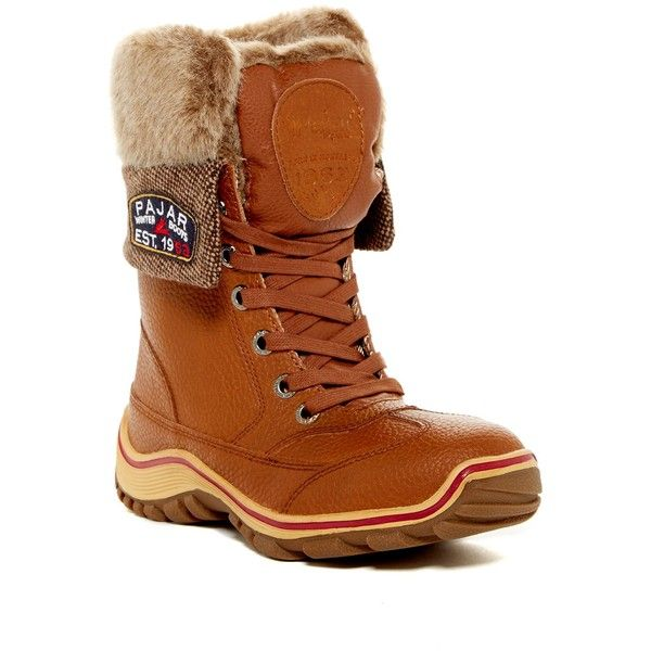 Pajar Alice Waterproof Faux Fur Lined Boot ($100) ❤ liked on Polyvore featuring shoes, boots, tan, tan lace up boots, genuine leather boots, waterproof boots, rounded toe boots and shearling-lined leather boots