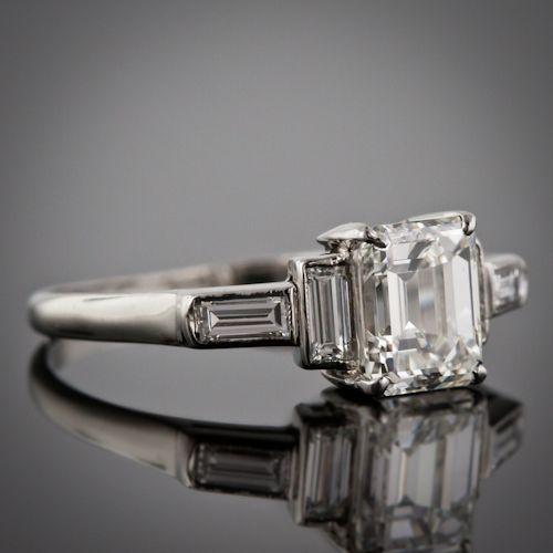 Art Deco 1.50 carat Emerald Cut & Baguettes (0.40 carat) five stone Engagement Ring...gorgeous