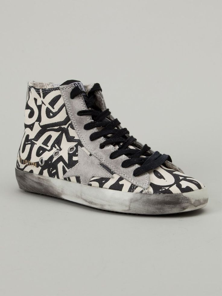 hite and black leather 'Francy' hi-top sneakers from Golden Goose Deluxe Brand