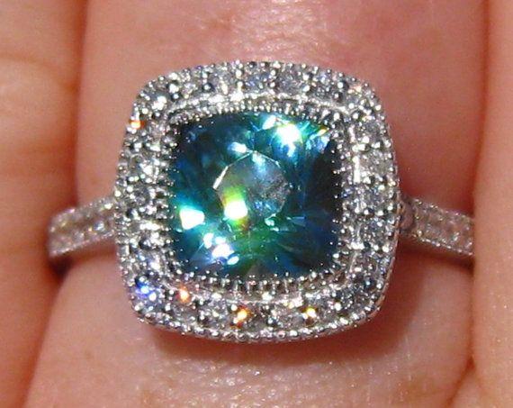 2.7 Carat Precision Cut Ocean Blue Zircon in White Gold Milgrain Diamond Halo Engagement Ring, by JuliaBJewelry on Etsy