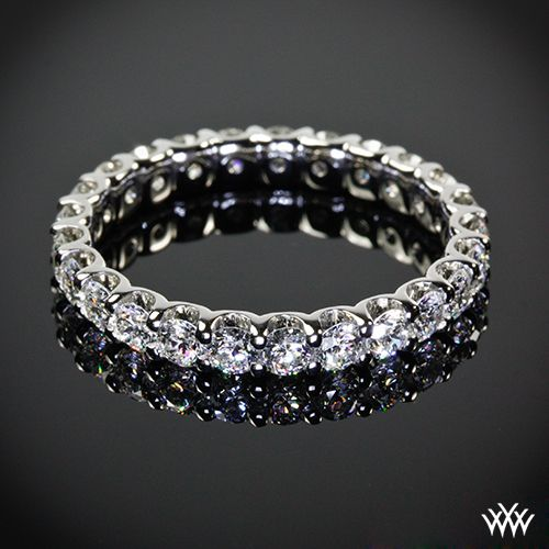 "Eternity band, This gorgeous ""U-Prong"" Full Eternity Diamond Wedding Ring has been customized to hold 1.70ctw A CUT ABOVE ® Hearts and Arrows Diamond Melee."