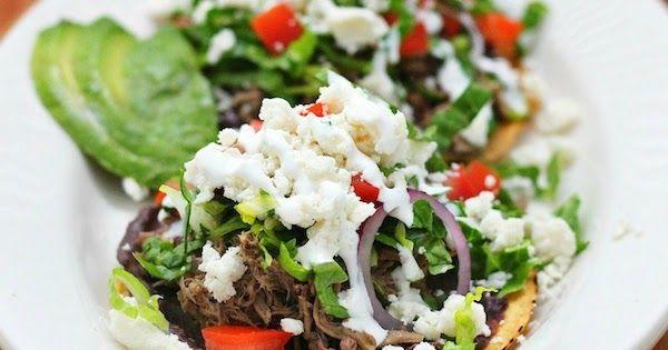 Mexico in My Kitchen: Beef Tostadas: a Comfort Food / Receta de Tostadas de Carne Deshebrada       |Authentic Mexican Food Recipes Traditional Blog