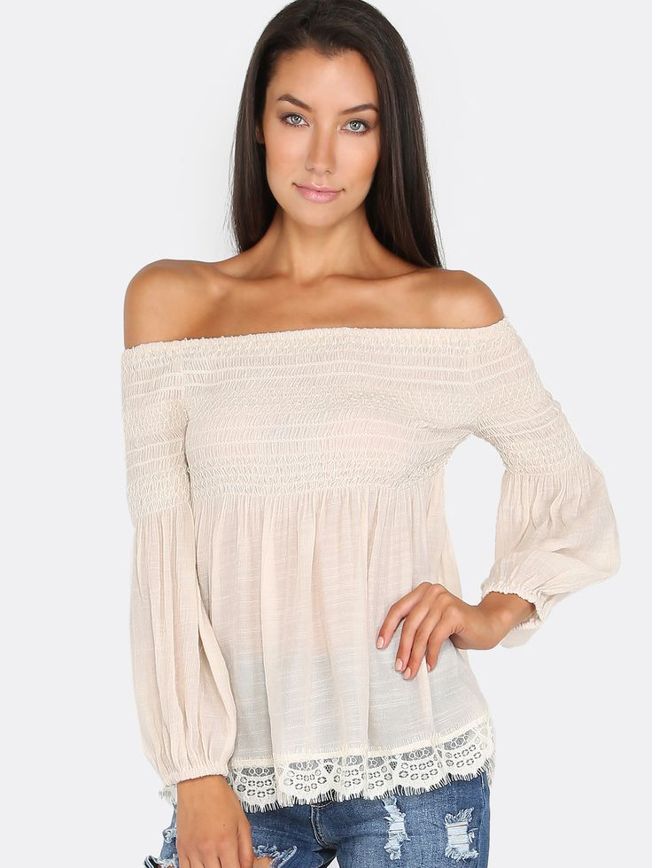 Ruched+Lace+Babydoll+Top+IVORY+19.80