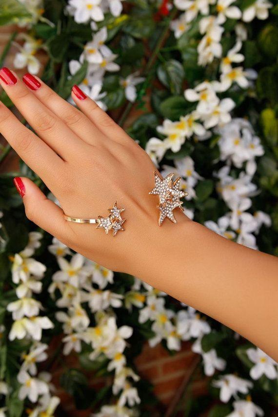 Hand Bracelet-Hand Cuff Chain Wraps-Slave Stackable Bracelet-Hand Finger Jewelry-Chain Ring Bracelet-Unique Elegant Bracelet-Wedding Jewelry by Trinketmart on Etsy
