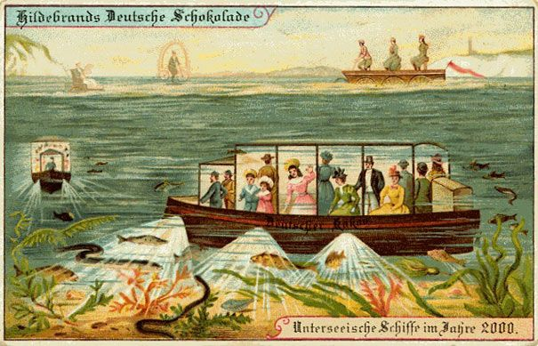 Them, 1900: Undersea Tourist Boats // Us, 2013: Glass-bottomed tourist boats and submarines // From BoredPanda