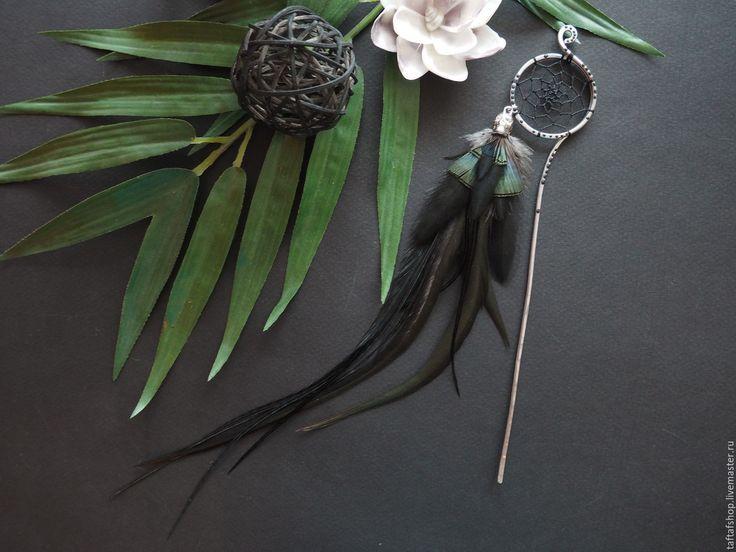 Шпилька для волос, с перьями - Сны пирата, чёрный, зелёный - перо, перья, перья в волосы