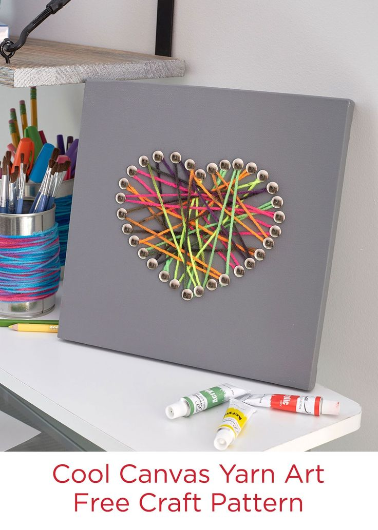 Cool Canvas Yarn Art Free Craft Pattern in Red Heart Super Saver Yarn -- Create your own yarn art! Use the provided heart template, or draw your own shape.