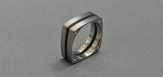 Guti Titanium ring Ring with ebony inlay silver rivets by Fordos