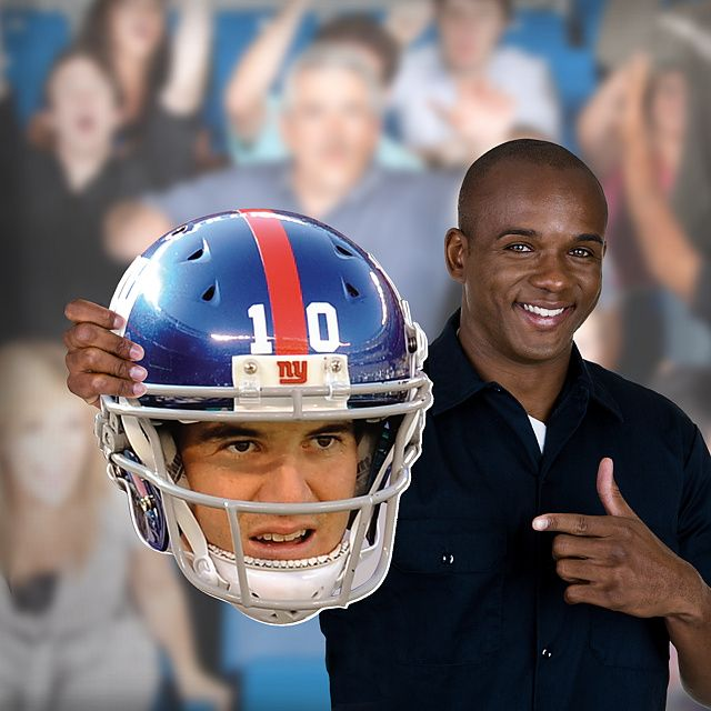 Now you can get your head in the game with your very own cut out of Eli Manning's face in his Giants helmet on game day. Unlike giant head posters or other player head photos, NFL Big Heads are sturdy and big enough to stand out in any crowd. There's no better way to prove you're a fan than with an officially licensed NFL Fathead Big Head. SHOP http://www.fathead.com/nfl/new-york-giants/eli-manning-game-day-big-head/ | Football