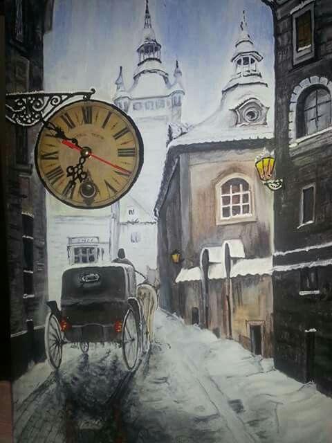 35*50 tuval akrilik boya  bu resimde duvarda asılı olan lambayı saat olarak değiştirdim saat çalışır durumda buda satılan urunumdur