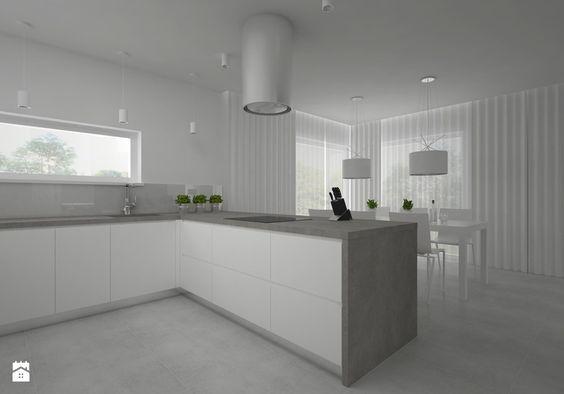SALON + KUCHNIA - Duża otwarta kuchnia w kształcie litery l w kształcie litery u z wyspą, styl minimalistyczny - zdjęcie od BIG IDEA studio projektowe