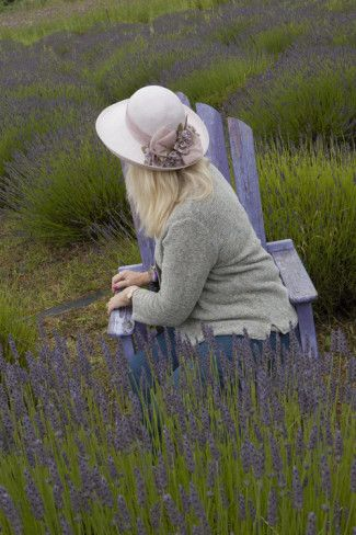 Woman in Straw Hat on Old Purple Chair in Garden of Lavender, Sequim, Washington, USA Photographic Print by John & Lisa Merrill at AllPosters.com
