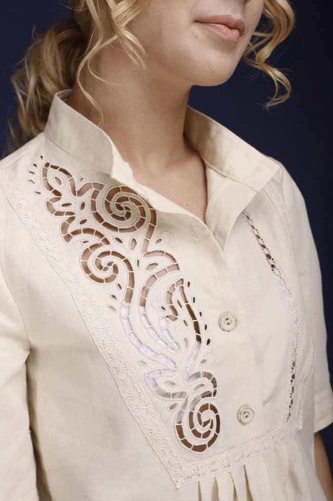 Платье из льна   Снежинка   Артикул 11СТ-152 ( рис. 2 )