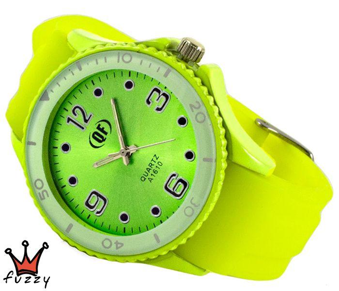 Γυναικείο ρολόι, με κάσα σε πράσινο/λευκό και περλέ εσωτερικό καντράν.  Λουράκι σε λαχανί  φωσφοριζέ, από σιλικόνη. Διάμετρος καντράν 40 mm