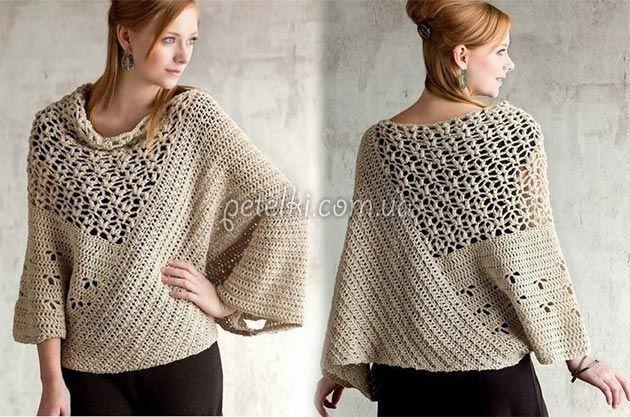 Пуловер-пончо с ажуром. Схемы