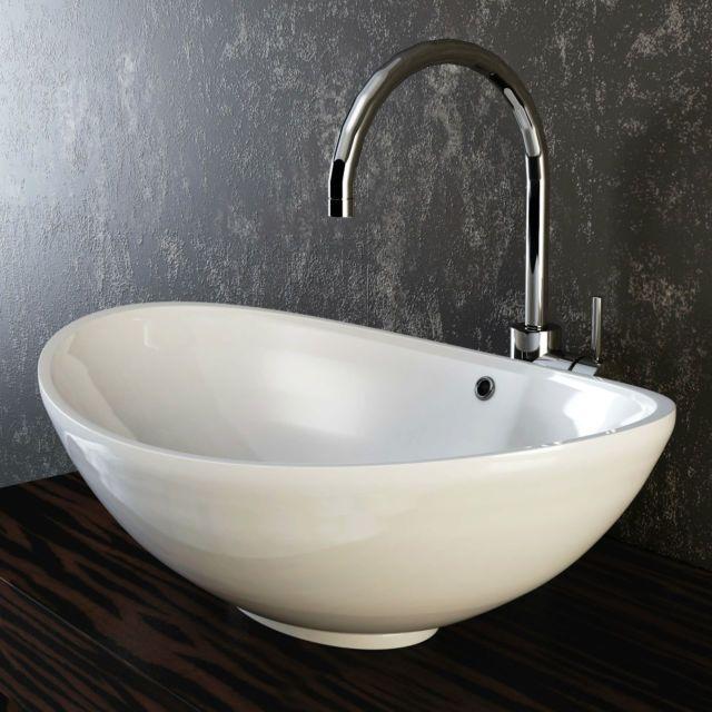 VILSTEIN© Keramik Waschbecken Aufsatzwaschbecken Aufsatz Waschschale oval 60cm
