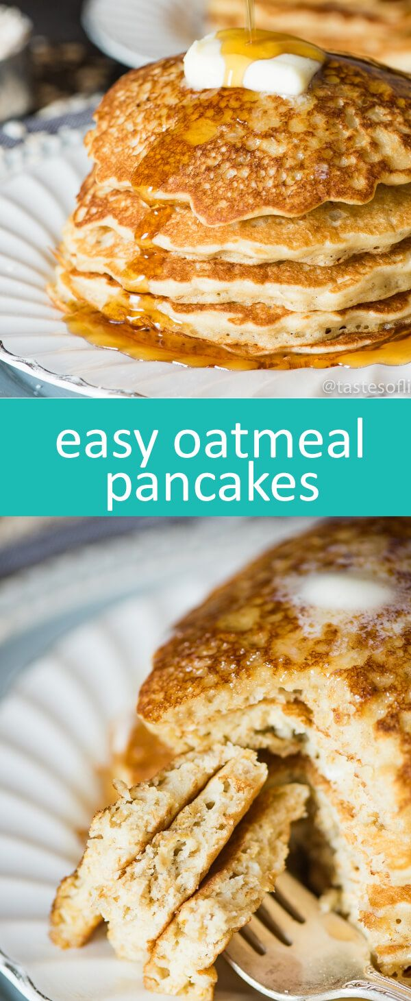 This thick & hearty, easy oatmeal pancakes recipe keeps your family nourished and ready for the day. An easy breakfast idea! Great American #MilkDrive @Milk AD