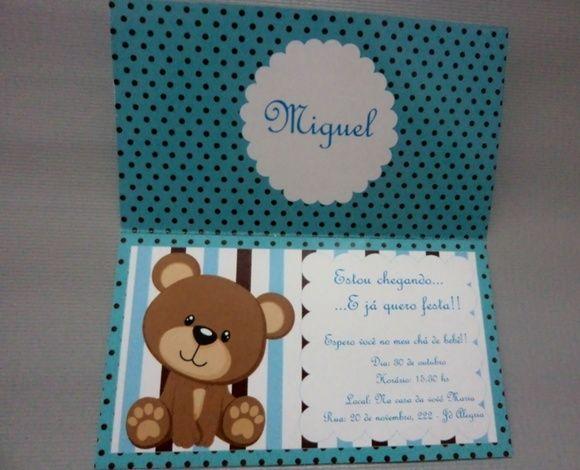 Convite Chá de bebê Azul e Marrom