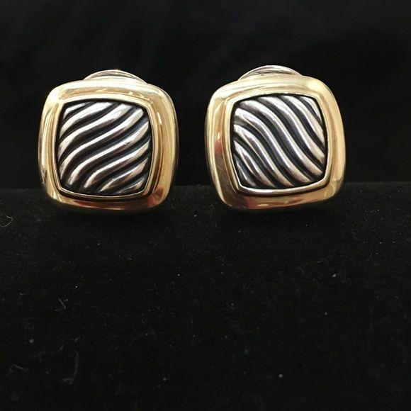 David Yurman Jewelry - David Yurman SS/18K Carved Cable Albion Earrings