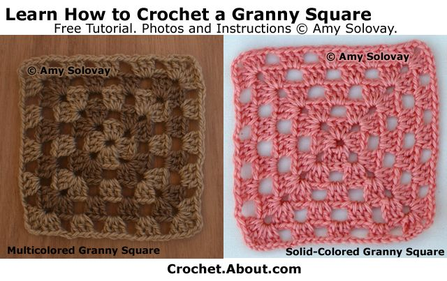 This photo tutorial shows how to crochet a granny square.