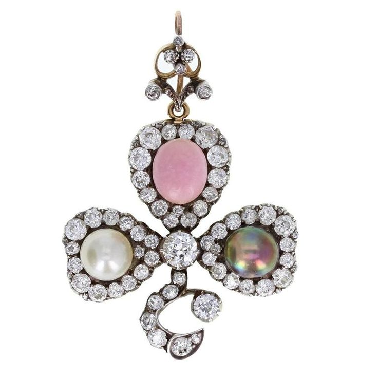 Antique Natural Saltwater and Conch Pearl Diamond Silver Gold Pendant Brooch For Sale at 1stdibs