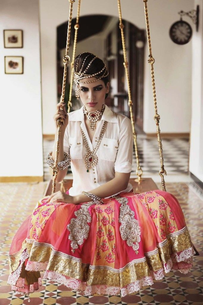 different way to wear a multi-strand matha patti from Nivedita Saboo lookbook
