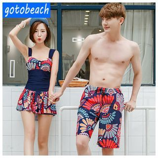 Buy Sunset Hours Matching Couple Print Swimdress / Men Swim Shorts at YesStyle.com! Quality products at remarkable prices. FREE WORLDWIDE SHIPPING on orders over US$ 35.