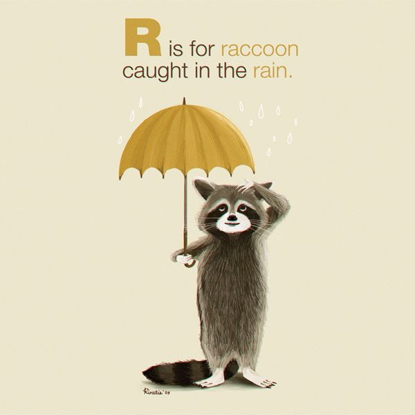 R is for Raccoon: Illustration by Kirstie Edmunds #illustration #raccoon #rain #kirstie_edmunds