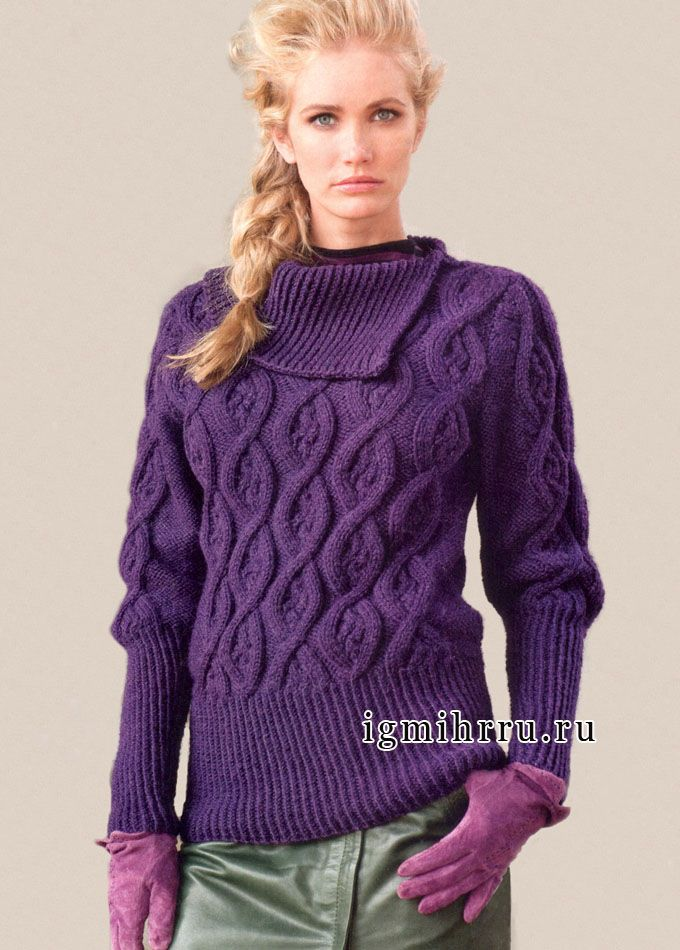 Warm purple sweater with asymmetrical collar and embossed patterns. Russian pattern - use Google Chrome to translate.