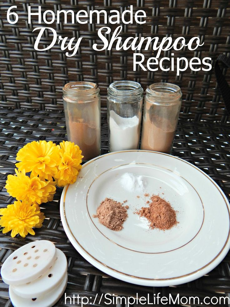 6 Homemade Dry Shampoo Recipes using arrowroot or clays and essential oils. Recipes for light, dark, or red hair so you can freshen your hair naturally.