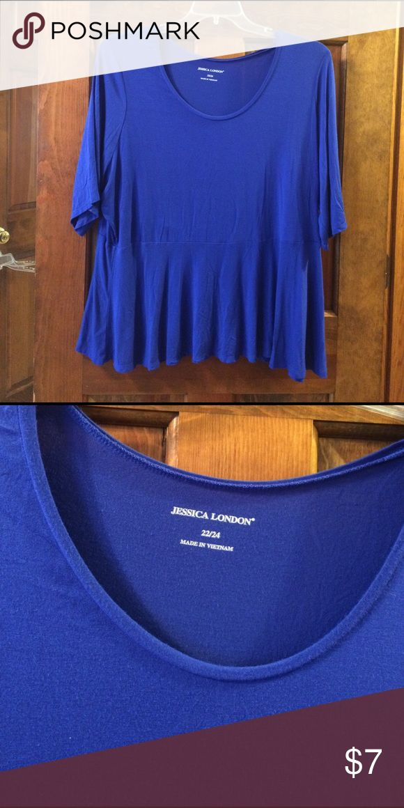 Royal blue short sleeve top size 22/24W Royal blue short sleeve, scooped neck top. It has a flairs out like a skirt from the waist. Jessica London Tops