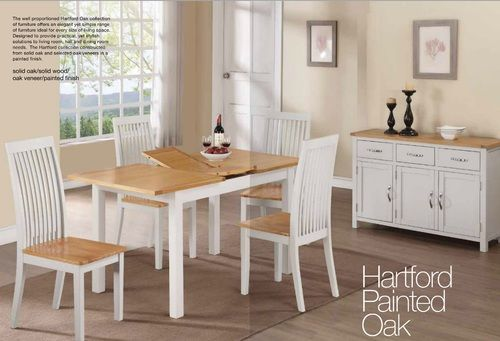 Hartford PAINTED Oak 4' extension Set With 4 Dining chairs, hartford Painted furniture, hartford Painted extension table, hartford Painted four chairs, Painted Oak chairs and dining table