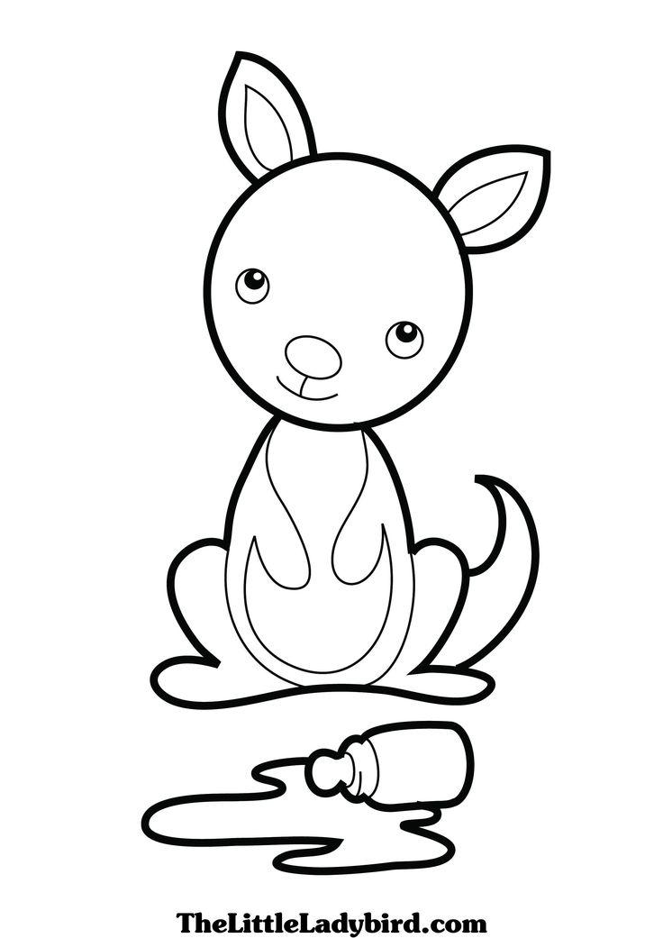 baby kangaroo printable Kangaroo Coloring Picture