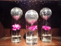 disco balls and fuchsia daisies
