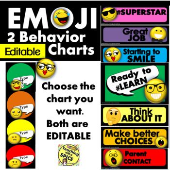 This Emoji Editable Behavior set comes in 2 styles (SEE PREVIEW) Clip Chart or a behavior light. In my classroom I use a Behavior light with 4 colors instead of 3. This gives the students a chance to make a mistake without feeling the pressure of being so close to red.