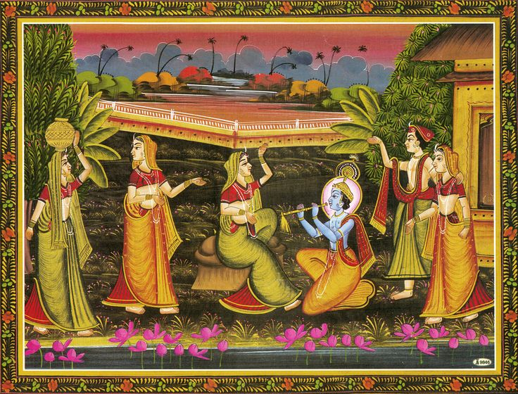 Krishna Enchants with the Music of His Flute (Reprint on Paper - Unframed)