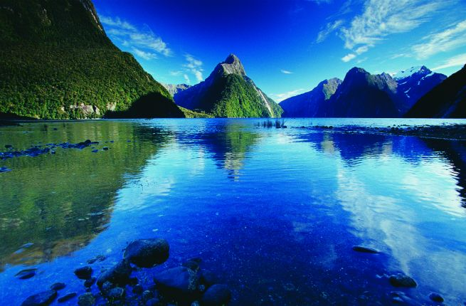 """Photo pictured here is from the Milford Track. Location: Fiordland National Park, near Te Anau Distance: 54 km (33.5 mi), four to five days. Called the """"finest walk in the world.""""  Book at least four months ahead, and don't forget your sandfly repellent."""