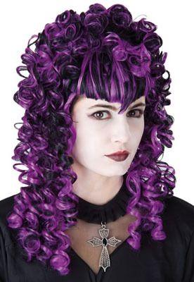 Peluca Dama Gótica rizos negro-violeta