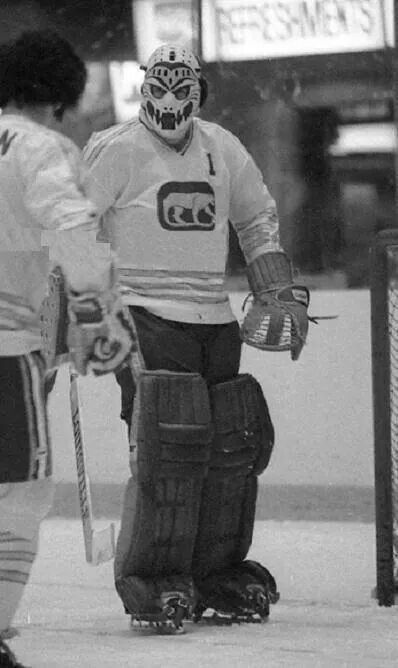 Chicago Cougars, green & yellow, were a WHA charter franchise. They relocated to Denver as the Spurs in 1975. Pictured Dave Dryden, bro of Habs' Ken Dryden.