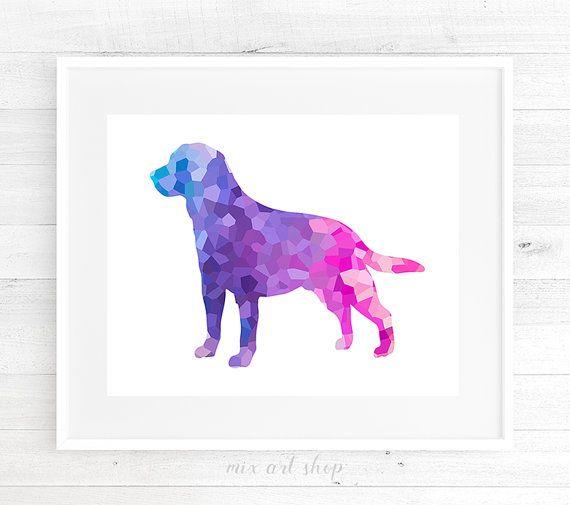 Geometrische hond Labrador afdrukbare 18 x 24 Wall Art, hond silhouet roze paars Lila hond, Dog Lovers Print kwekerij Print hond afdrukbare kunst aan de muur