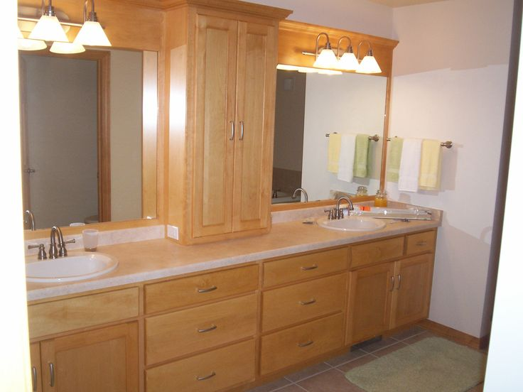 Bathroom Simple Way To Keep Your Bathroom Cabinets Neat In The Inside Maple Bathroom Cabinet With Double Sink Completed With Double Sink Two Mirror And