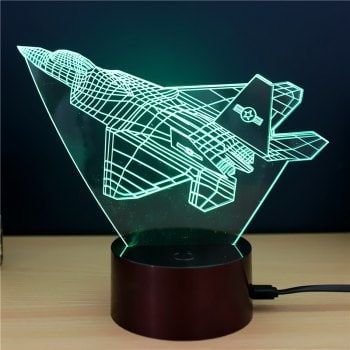Fighter plane Gift Advertising Promotion LED Touches The Color-Changing 3D Lamp USB Creative Nightlight - RGB 21 X 15 X 8.7 CM