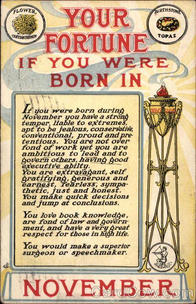 November - Your Fortune If You Were Born In November